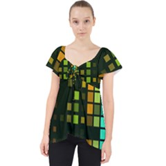 Abstract Plaid Lace Front Dolly Top