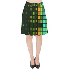 Abstract Plaid Velvet High Waist Skirt