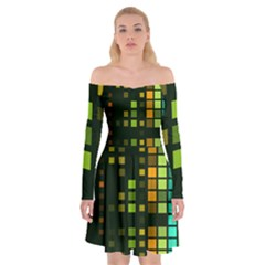 Abstract Plaid Off Shoulder Skater Dress by HermanTelo