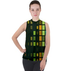 Abstract Plaid Mock Neck Chiffon Sleeveless Top by HermanTelo