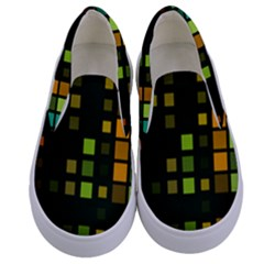 Abstract Plaid Kids  Canvas Slip Ons