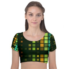 Abstract Plaid Velvet Short Sleeve Crop Top