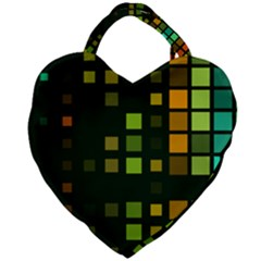 Abstract Plaid Giant Heart Shaped Tote