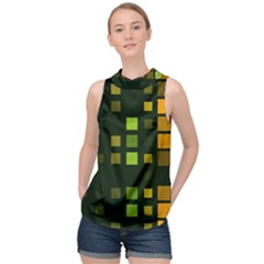 Abstract Plaid High Neck Satin Top