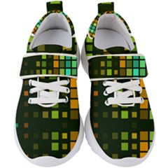 Abstract Plaid Kids  Velcro Strap Shoes