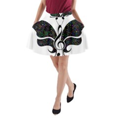 Butterfly Music Animal Audio Bass A Line Pocket Skirt