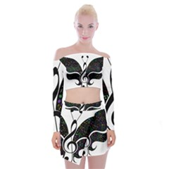 Butterfly Music Animal Audio Bass Off Shoulder Top With Mini Skirt Set
