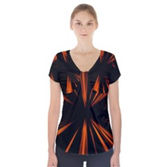 Abstract Light Short Sleeve Front Detail Top