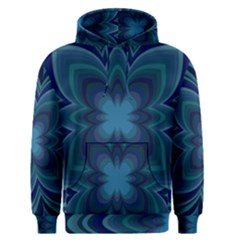Blue Geometric Flower Dark Mirror Men s Pullover Hoodie