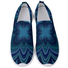 Blue Geometric Flower Dark Mirror Men s Slip On Sneakers by HermanTelo