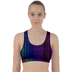 Abstract Background Plaid Back Weave Sports Bra
