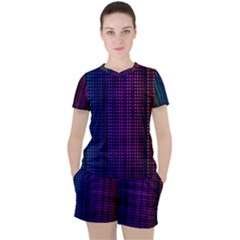 Abstract Background Plaid Women s Tee And Shorts Set by HermanTelo