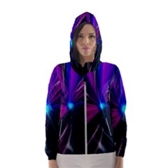 Abstract Background Lightning Women s Hooded Windbreaker by HermanTelo