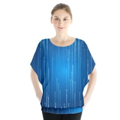 Abstract Line Space Batwing Chiffon Blouse