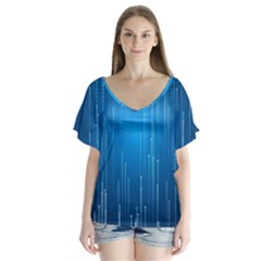 Abstract Line Space V Neck Flutter Sleeve Top by HermanTelo