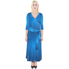 Abstract Line Space Quarter Sleeve Wrap Maxi Dress by HermanTelo