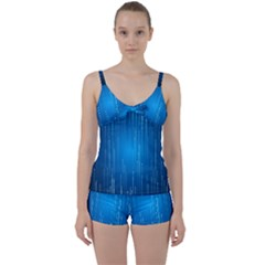 Abstract Line Space Tie Front Two Piece Tankini