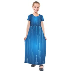 Abstract Line Space Kids  Short Sleeve Maxi Dress by HermanTelo