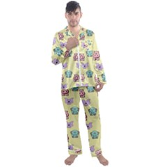 Animals Pastel Children Colorful Men s Satin Pajamas Long Pants Set by HermanTelo