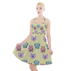 Animals Pastel Children Colorful Halter Party Swing Dress