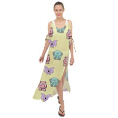 Animals Pastel Children Colorful Maxi Chiffon Cover Up Dress