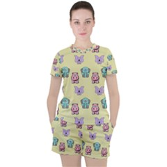 Animals Pastel Children Colorful Women s Tee And Shorts Set by HermanTelo