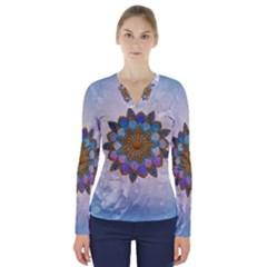Wonderful Mandala V-neck Long Sleeve Top by FantasyWorld7