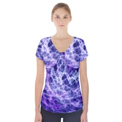 Abstract Background Space Short Sleeve Front Detail Top