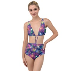 Abstract Background Graphic Space Tied Up Two Piece Swimsuit