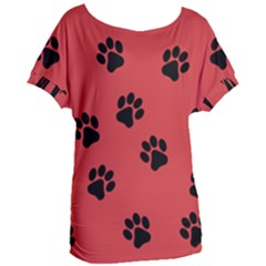 Paw Prints Background Animal Women s Oversized Tee by HermanTelo