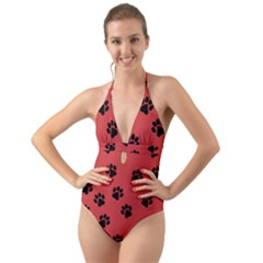 Paw Prints Background Animal Halter Cut-out One Piece Swimsuit