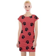 Paw Prints Background Animal Cap Sleeve Bodycon Dress