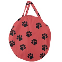 Paw Prints Background Animal Giant Round Zipper Tote