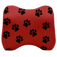 Paw Prints Background Animal Velour Head Support Cushion