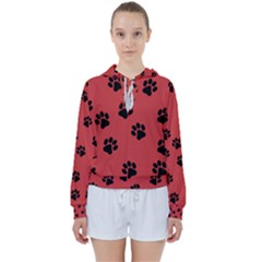 Paw Prints Background Animal Women s Tie Up Sweat