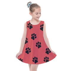 Paw Prints Background Animal Kids  Summer Dress by HermanTelo