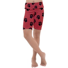 Paw Prints Background Animal Kids  Lightweight Velour Cropped Yoga Leggings