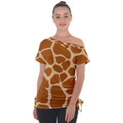 Giraffe Skin Pattern Tie Up Tee by HermanTelo