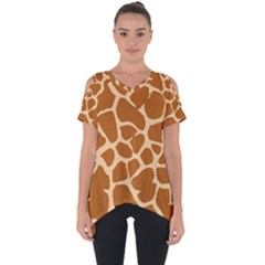 Giraffe Skin Pattern Cut Out Side Drop Tee