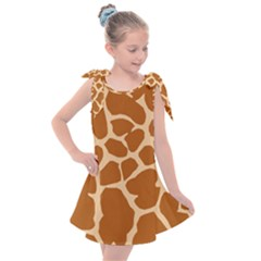 Giraffe Skin Pattern Kids  Tie Up Tunic Dress