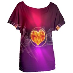 Flame Heart Smoke Love Fire Women s Oversized Tee by HermanTelo