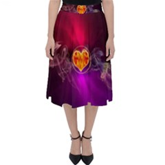 Flame Heart Smoke Love Fire Classic Midi Skirt