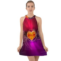 Flame Heart Smoke Love Fire Halter Tie Back Chiffon Dress by HermanTelo