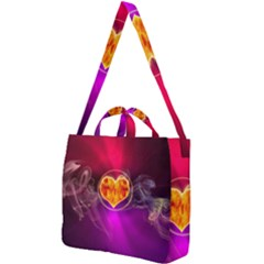 Flame Heart Smoke Love Fire Square Shoulder Tote Bag