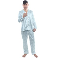 Footprints Pattern Paper Scrapbooking Blue Men s Satin Pajamas Long Pants Set
