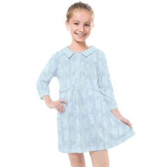 Footprints Pattern Paper Scrapbooking Blue Kids  Quarter Sleeve Shirt Dress