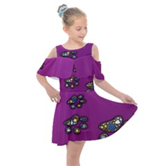 Footprints Paw Animal Track Foot Kids  Shoulder Cutout Chiffon Dress