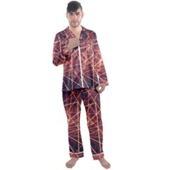 Light Fiber Black Fractal Art Men s Satin Pajamas Long Pants Set