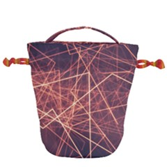 Light Fiber Black Fractal Art Drawstring Bucket Bag