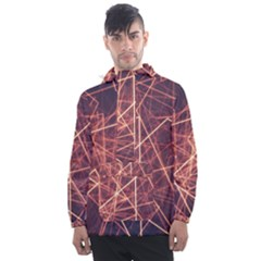 Light Fiber Black Fractal Art Men s Front Pocket Pullover Windbreaker by HermanTelo